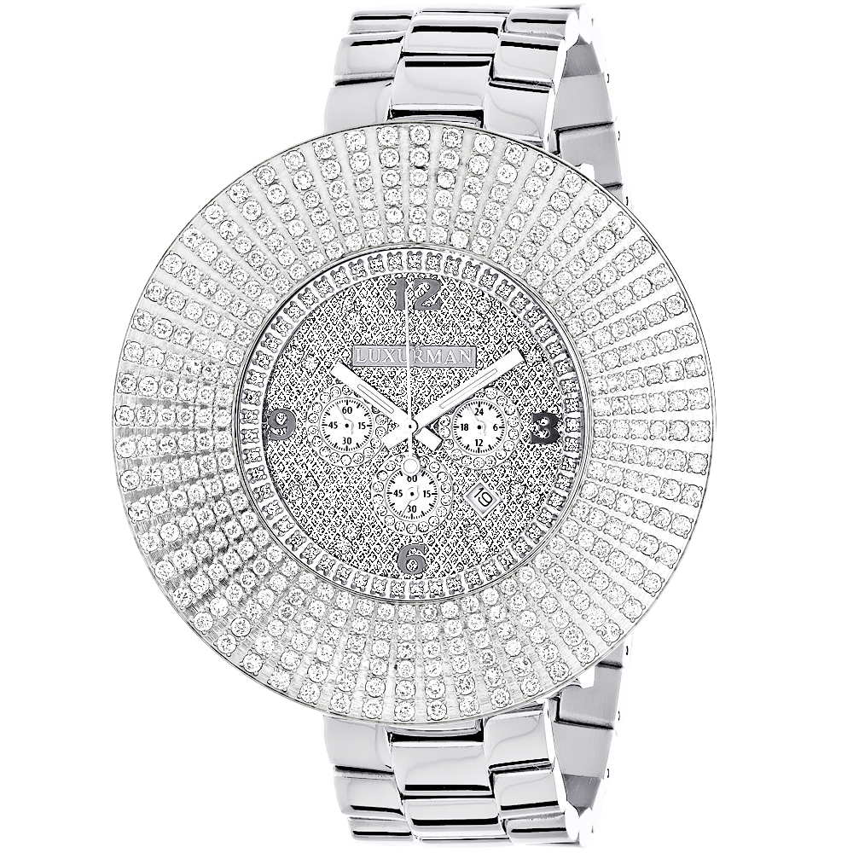 Large Diamond Bezel Luxurman Watch Escalade 14ct Mens Hip Hop Watches