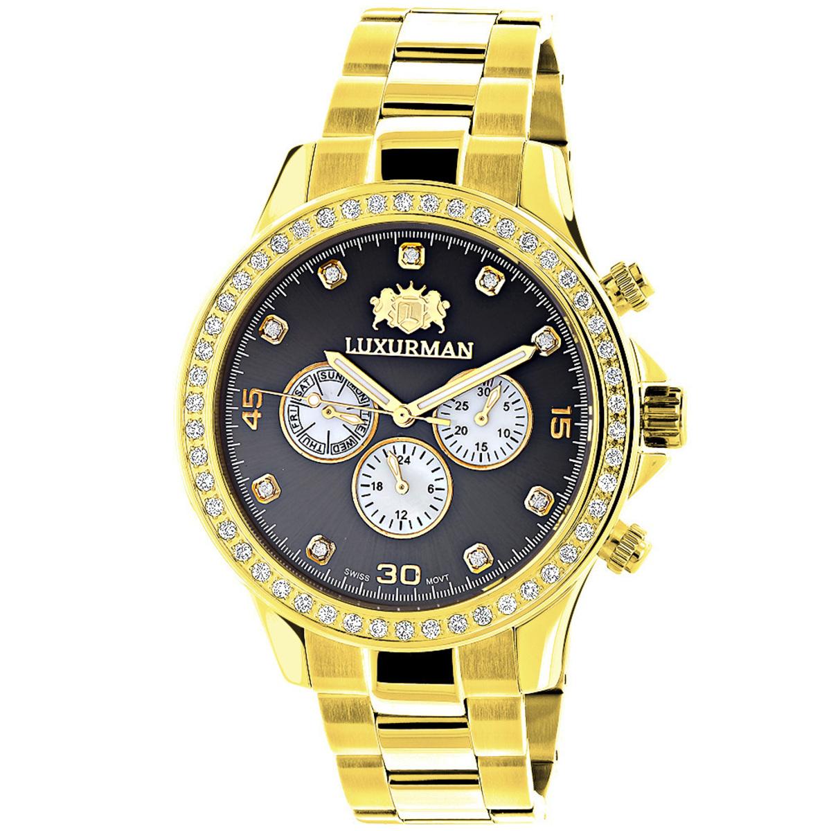 Large Diamond Bezel Watch by Luxurman 2ct Yellow Gold Tone Watches