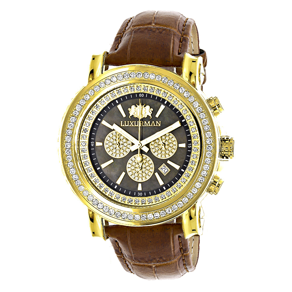 Large Diamond Bezel Watch for Men 2.5ct Luxurman Escalade Yellow Gold Plted