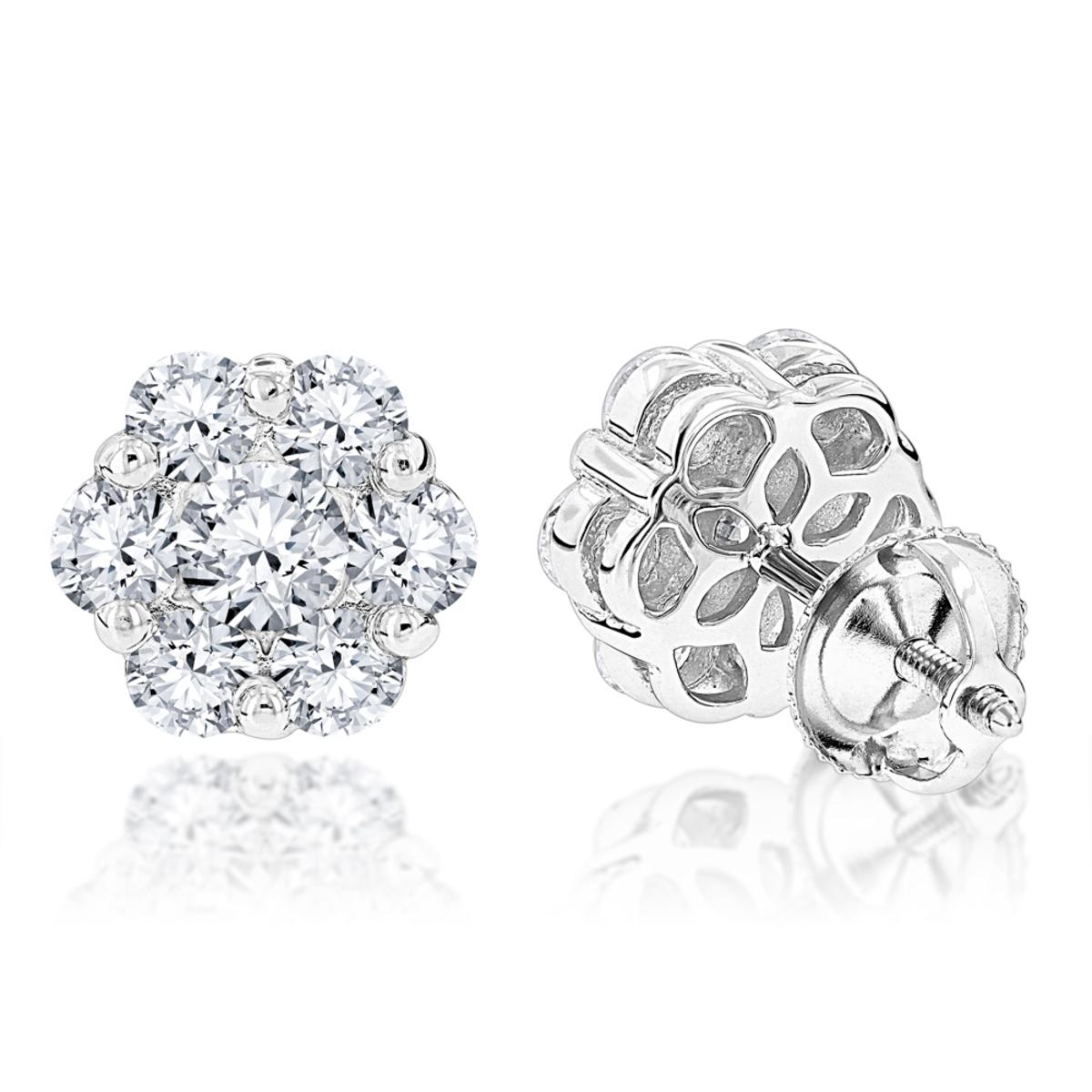 Large Diamond Cluster Earrings 1.90ct 14K Gold Studs