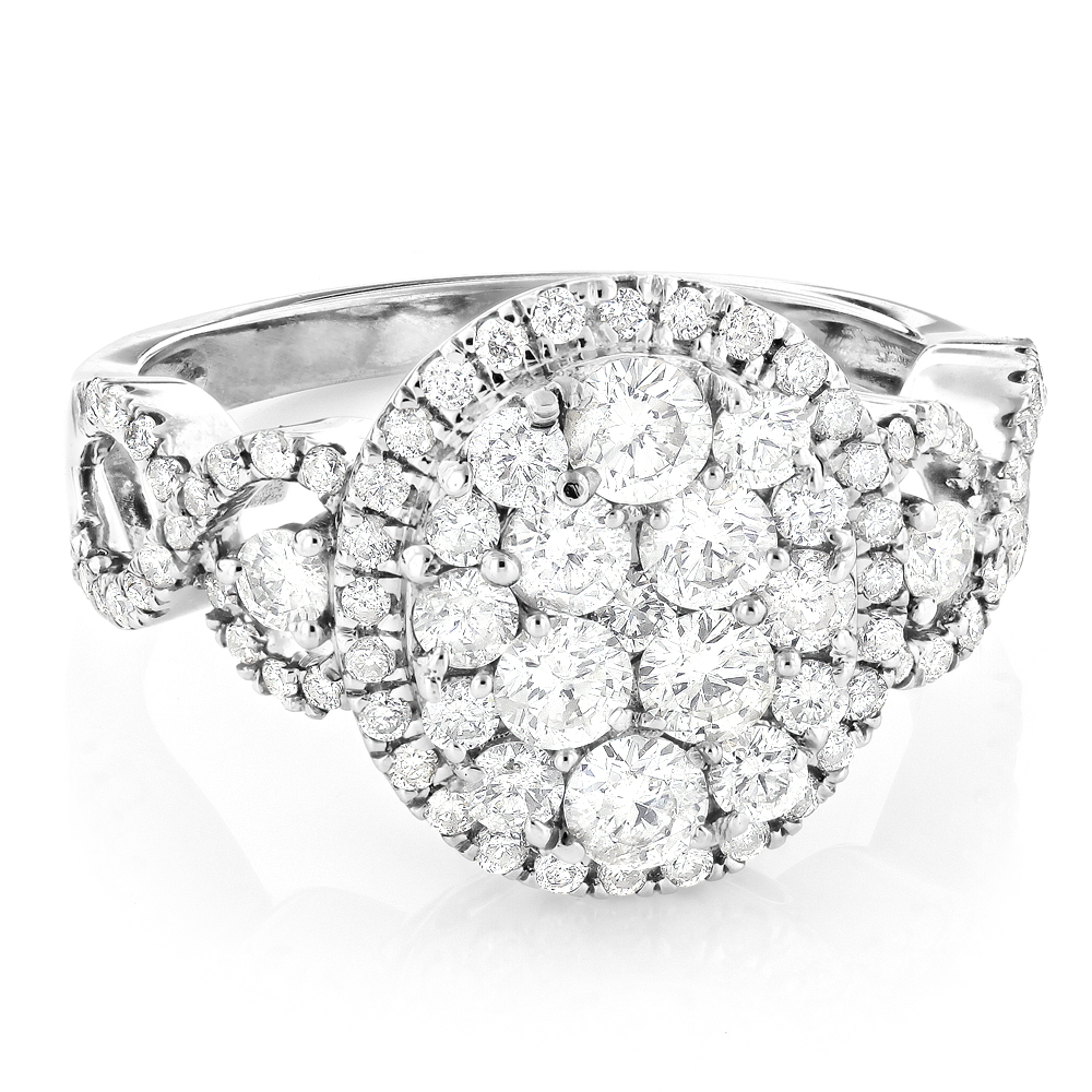Large Diamond Cluster Engagement Ring 1.7ct 14K Gold