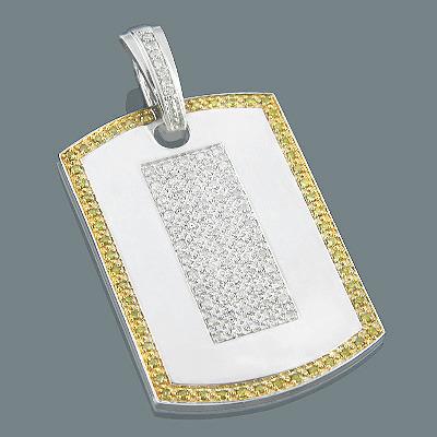 Large Diamond Dog Tags: White Yellow Diamond Pendant 1.04ct Silver