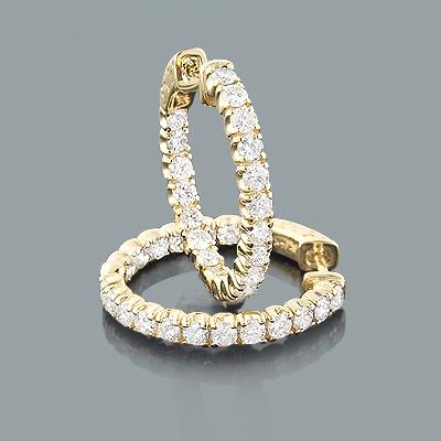 Large Diamond Hoop Earrings Inside Out 2.00ct 14K