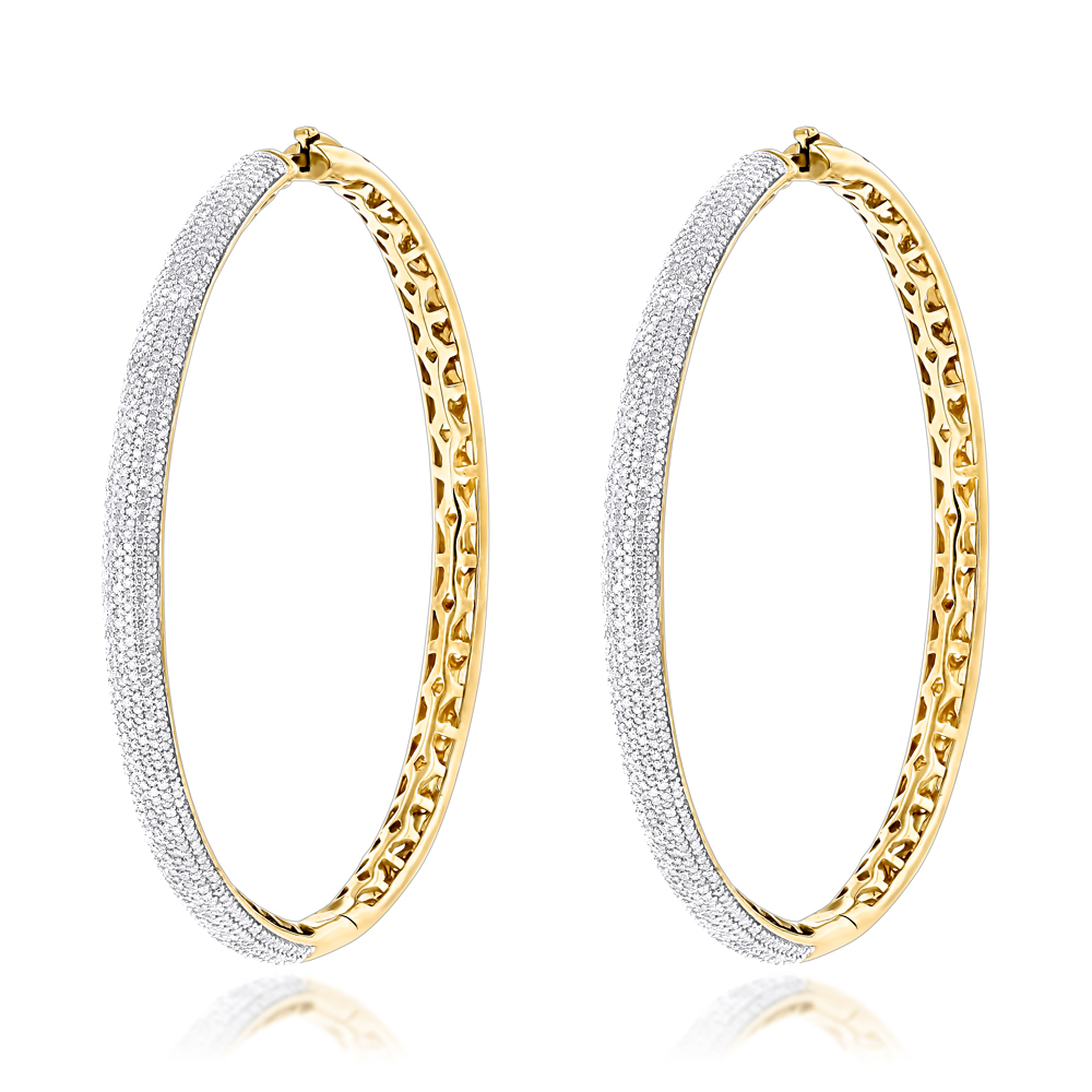 Large Hoop Earrings with Diamonds 2.76ct 14K Gold