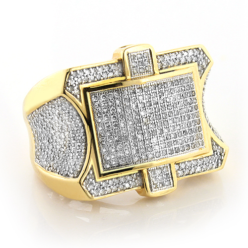Large Mens Diamond Ring 1.89ct