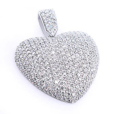 Large pave diamond heart pendant 10ct 14k gold aloadofball Choice Image