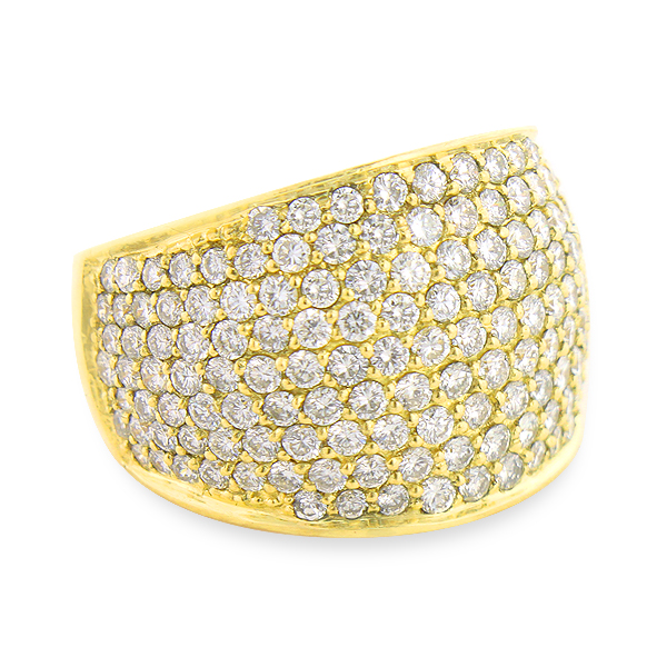 Large Pave Diamond Ring 3.5 ct Statement Jewelry Wide Wedding Band
