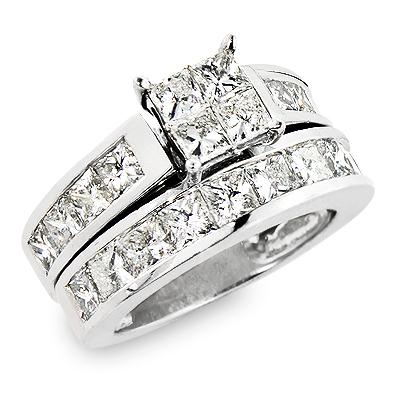 Large Princess Cut Diamond Engagement Ring Set 5.33ct Channel Setting