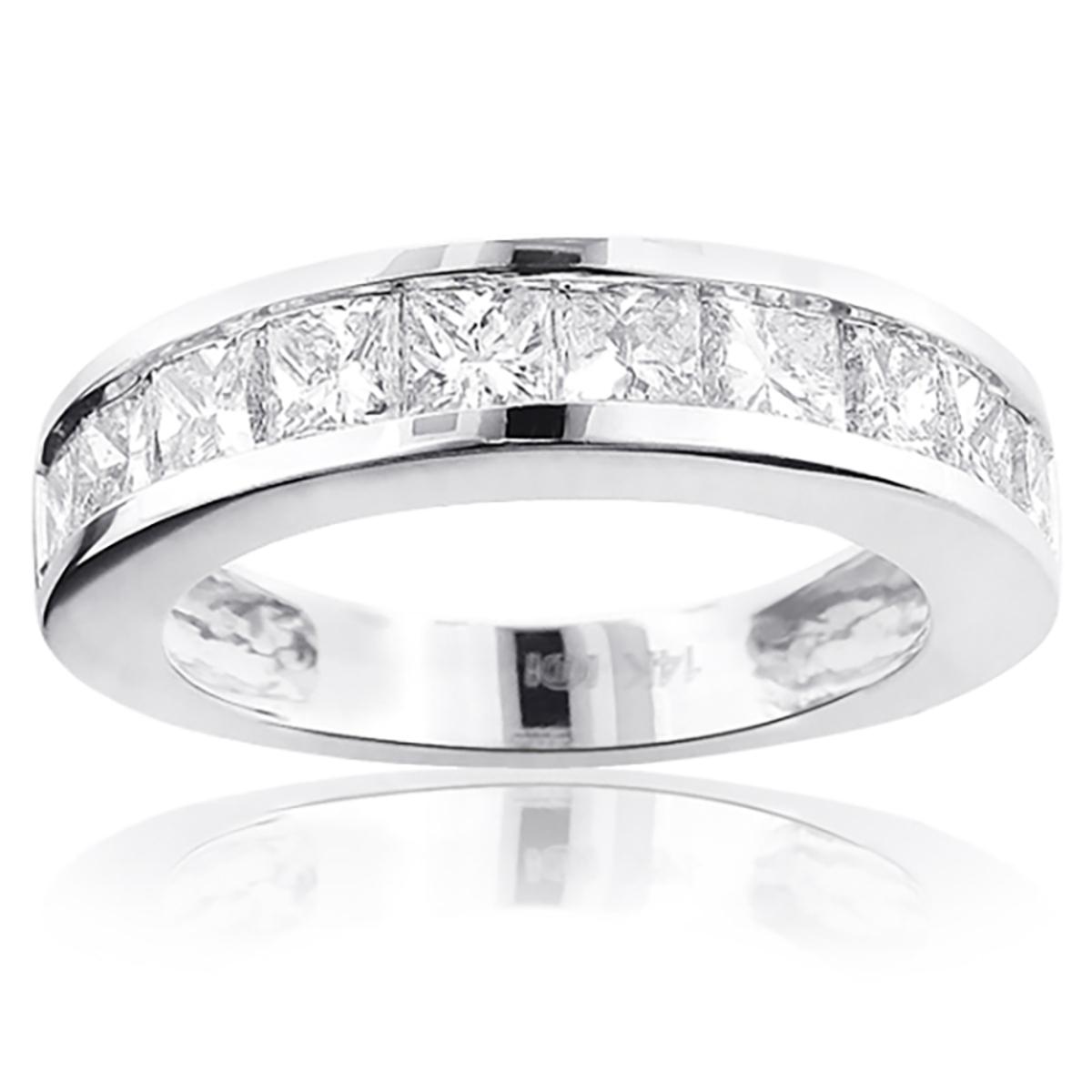 Large Princess Cut Diamond Wedding Band 2.5ct 14K Gold