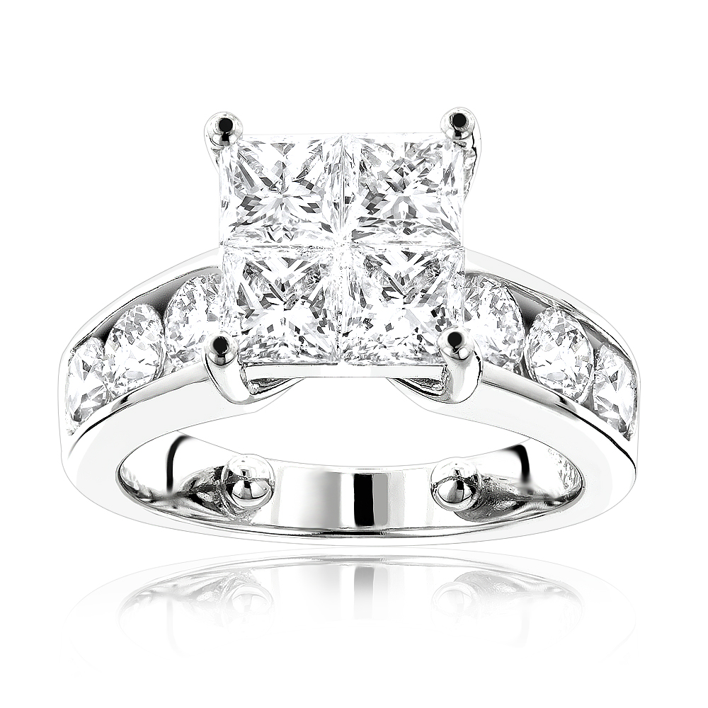 Large Round and Princess Cut Diamond Engagement Ring 3.4ct