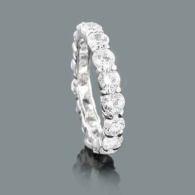 Thin Large Round Diamond Eternity Band 4.50ct 14K Gold Rings