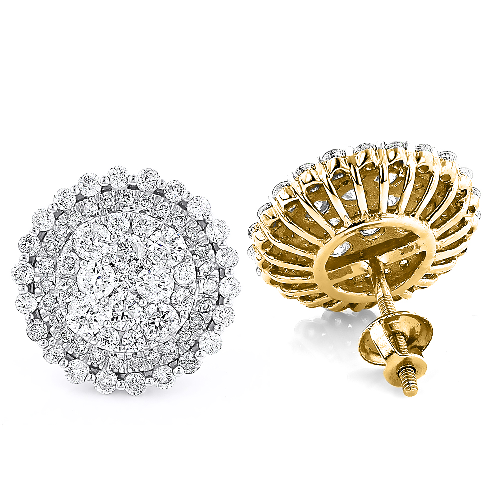 Large Round Diamond Stud Earrings 2.4ct 14k Gold Cluster Studs