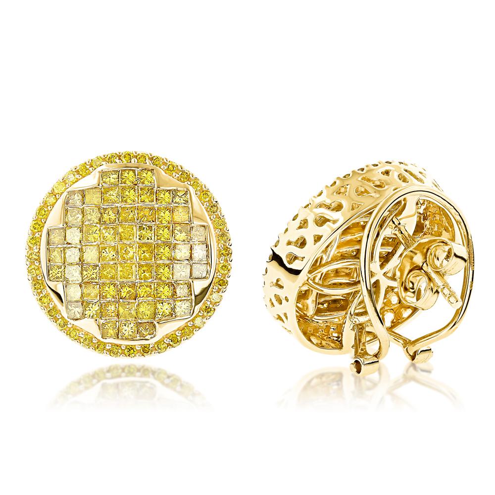 Large Round Princess Cut Yellow Diamond Earrings Studs 2.95ct 14K Gold