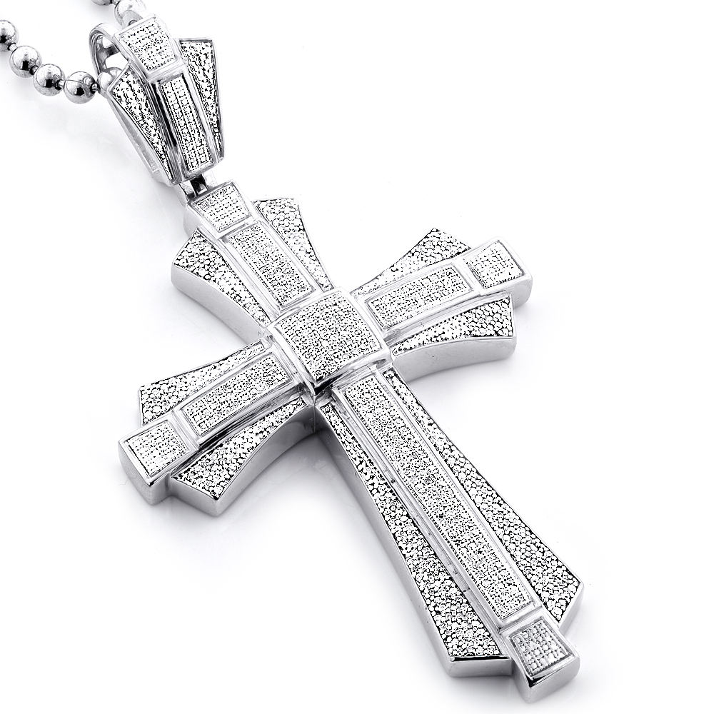 Large Sterling Silver Mens Diamond Cross Pendant 1.14ct
