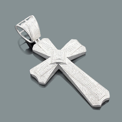 Large sterling silver mens diamond cross pendant 115ct mozeypictures Image collections