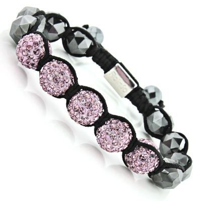 Lavender Crystal Hematite Bracelet - Beaded Disco Ball Jewelry