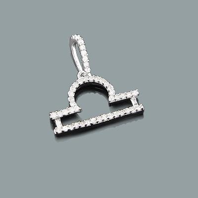 Libra Jewelry: Gold Diamond Zodiac Pendant 0.17ct 10K Gold Charm
