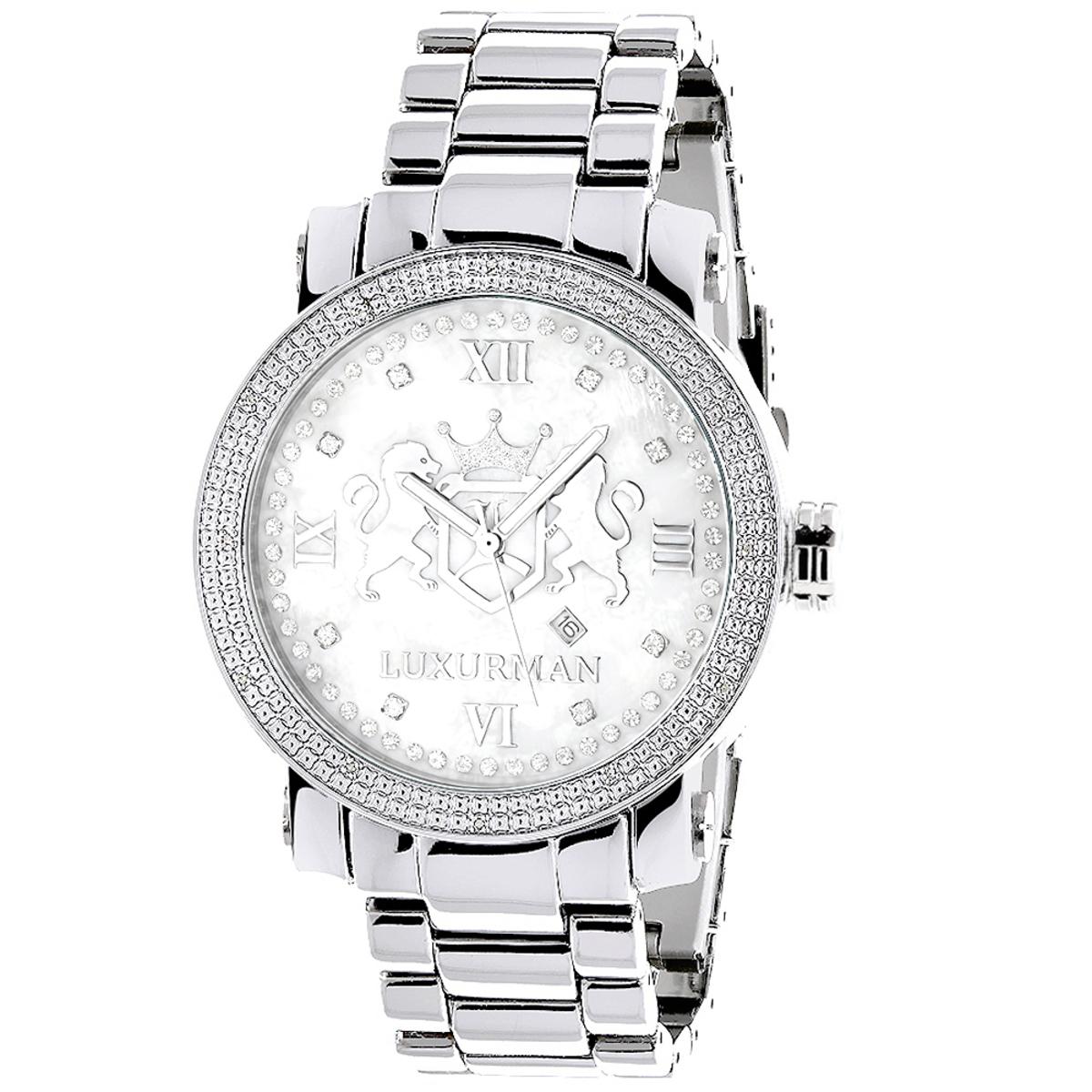 Large Diamond Watches For Men 0.12ct Luxurman Phantom White MOP
