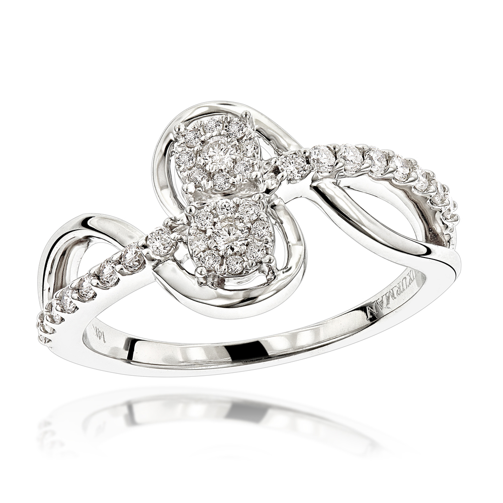 Love and Friendship Rings: 14K Gold 2 Cluster Diamond Ladies Ring 0.35ct