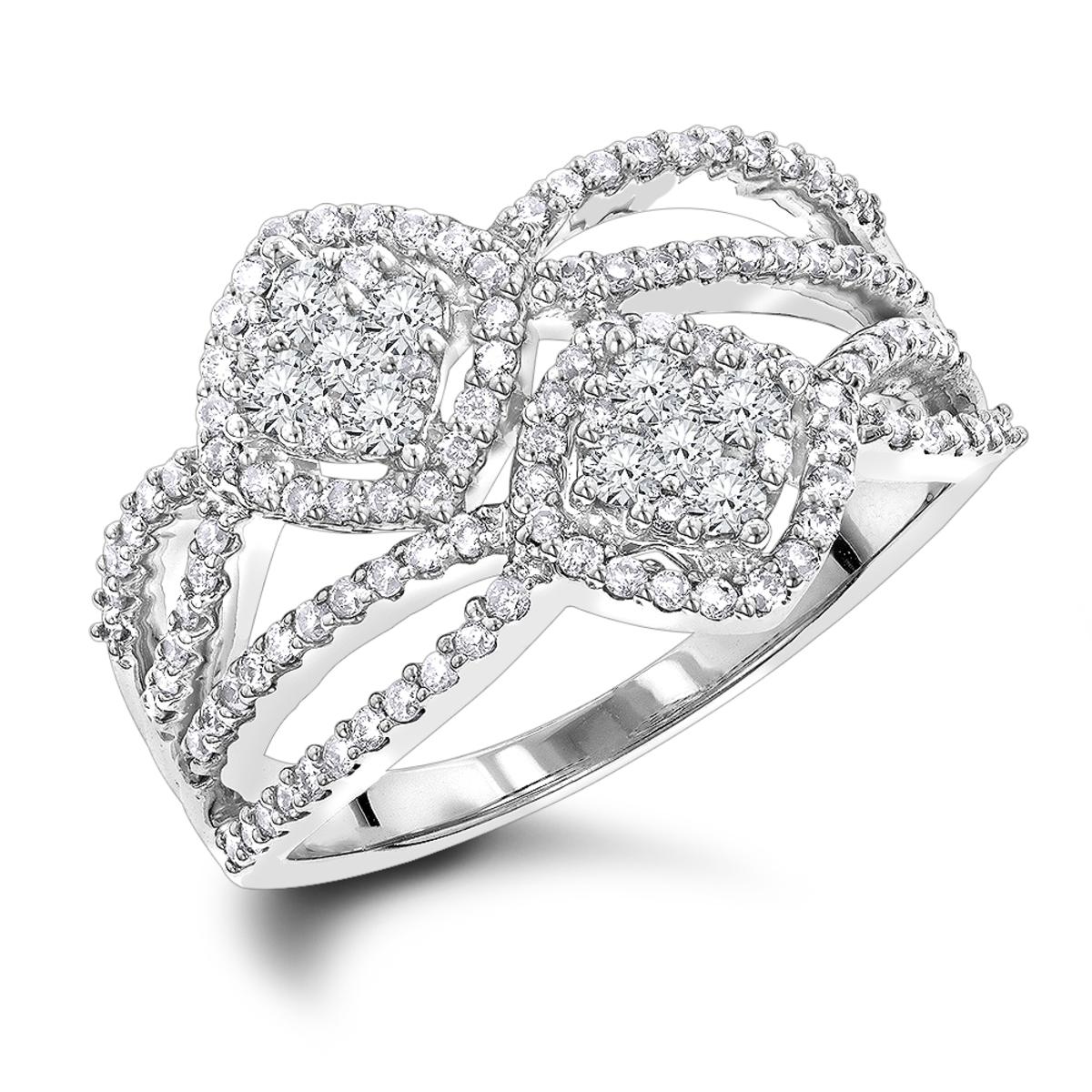 Love & Friendship Rings Luxurman Diamond Right Hand Ring for Women 14k Gold