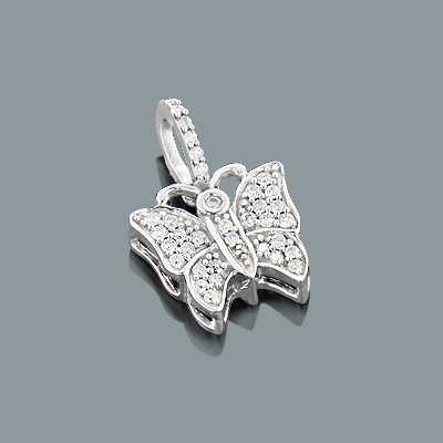 Lovely Diamond Butterfly Pendant 10K 0.19ct