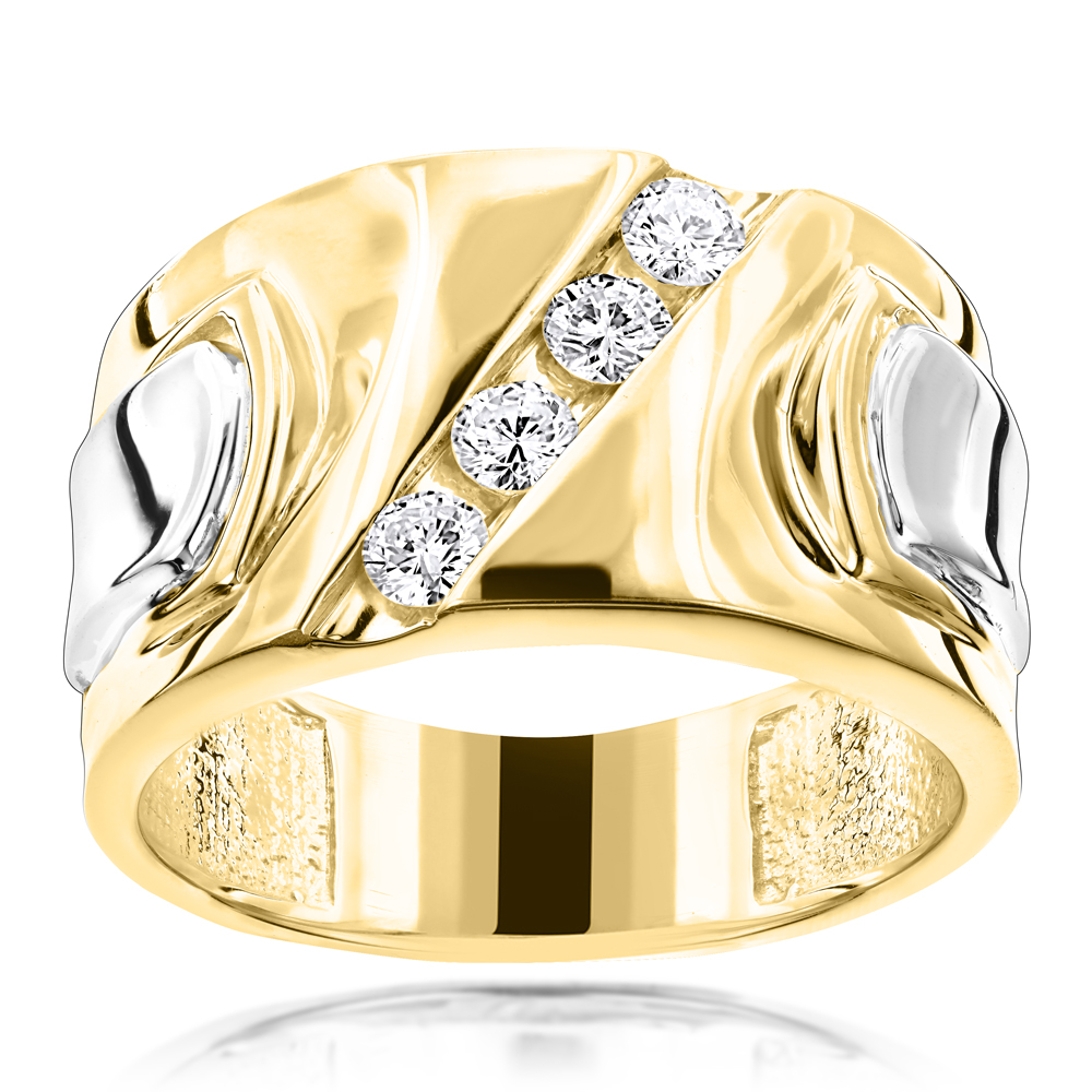 Luccello Brand 18K Gold Mens Designer Diamond Ring G VS 0.5ct