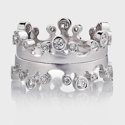 Luccello Designer Diamond Eternity Ring Set 18K Gold 0.58ct