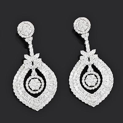 Luccello Jewelry: Designer Diamond Earrings 8.66ct 18K Gold