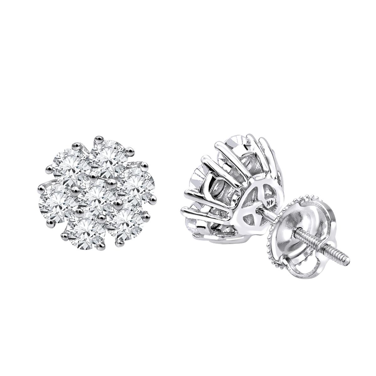 Luxurman 1 1/2ct Diamond Flower Cluster Earrings Studs in 14k Gold
