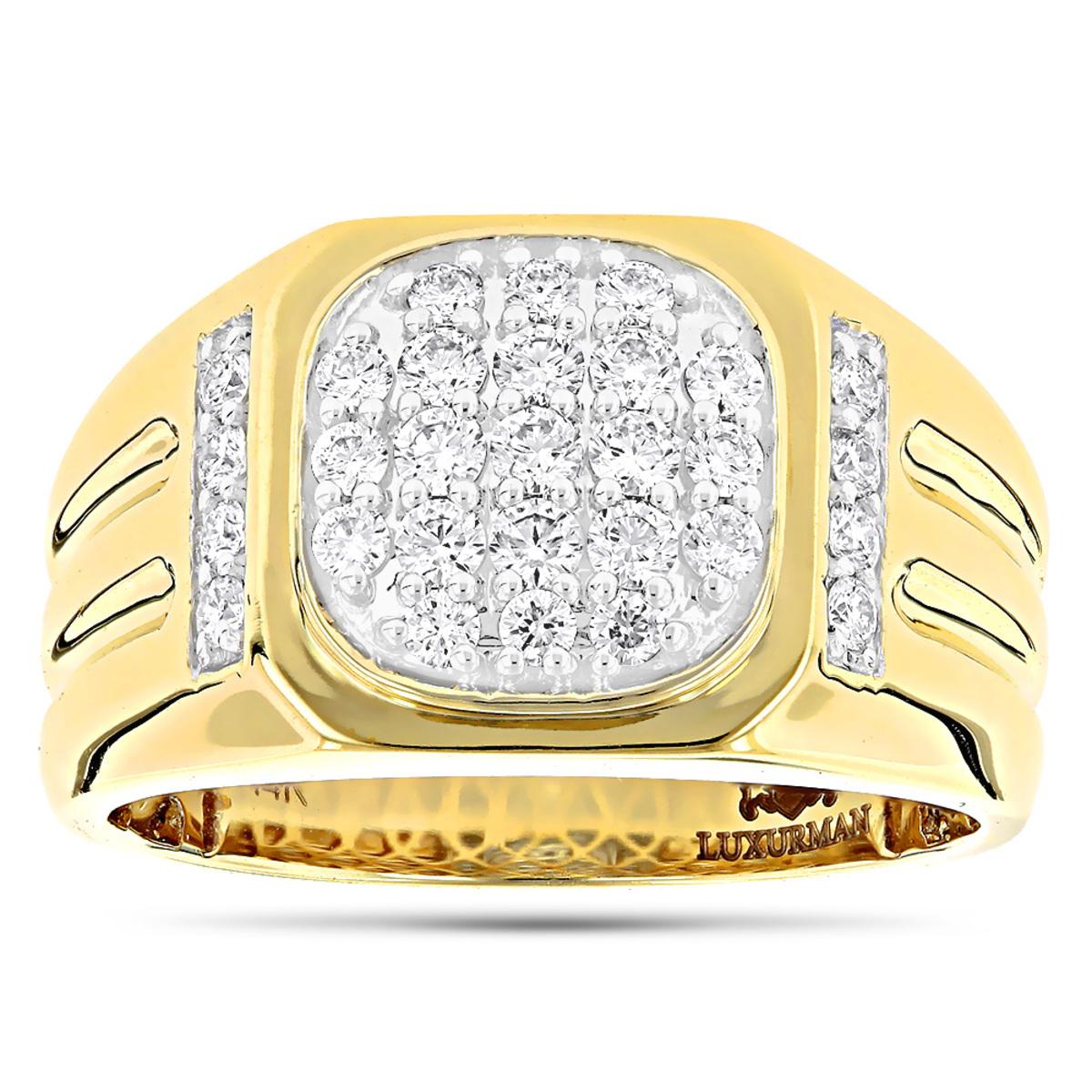 Luxurman 1 Carat Men's Diamond Ring 14k Yellow Rose White Gold Pinky Ring