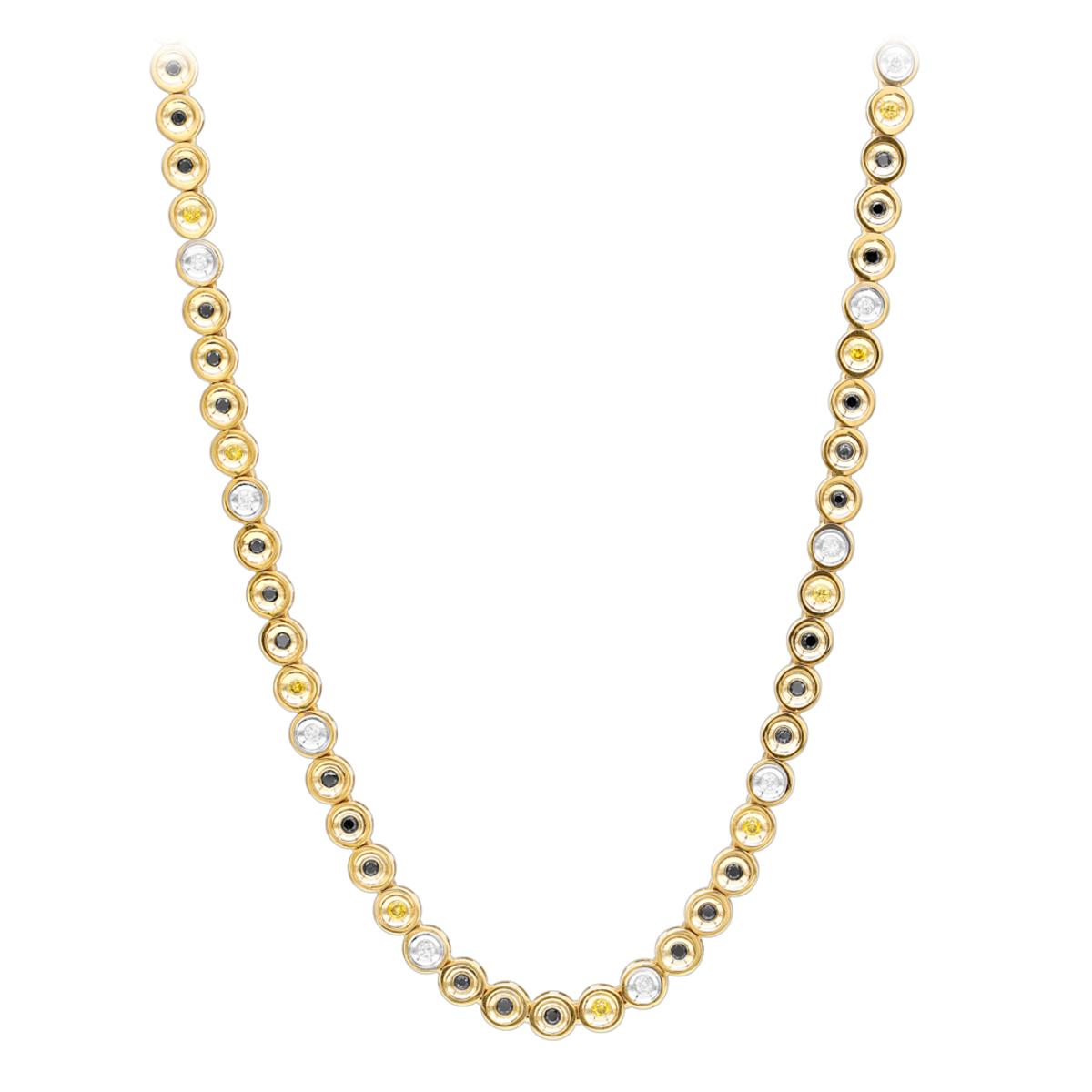 LUXURMAN 10K Gold White Yellow Black Diamond Necklace for ...  LUXURMAN 10K Go...