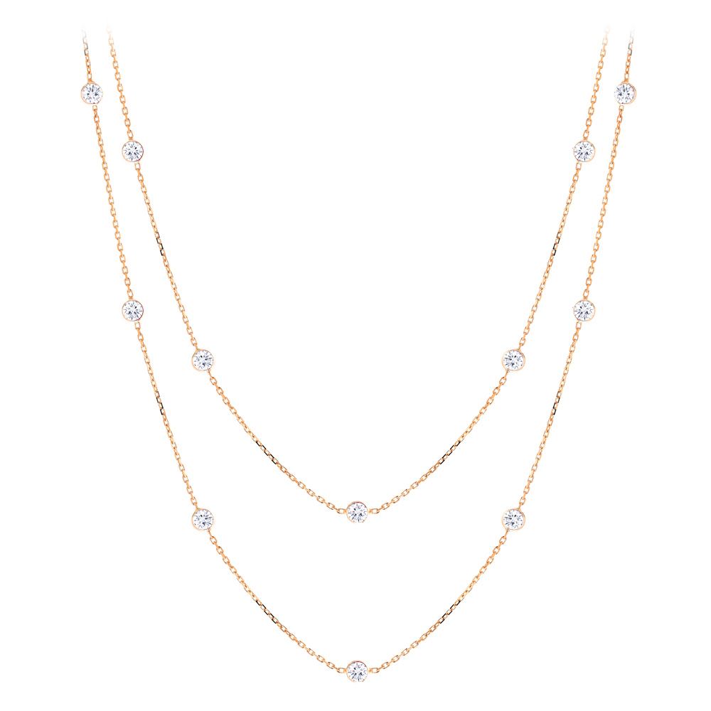 Luxurman 14K Gold Chain with Diamonds by the Yard Necklace 1.5ct