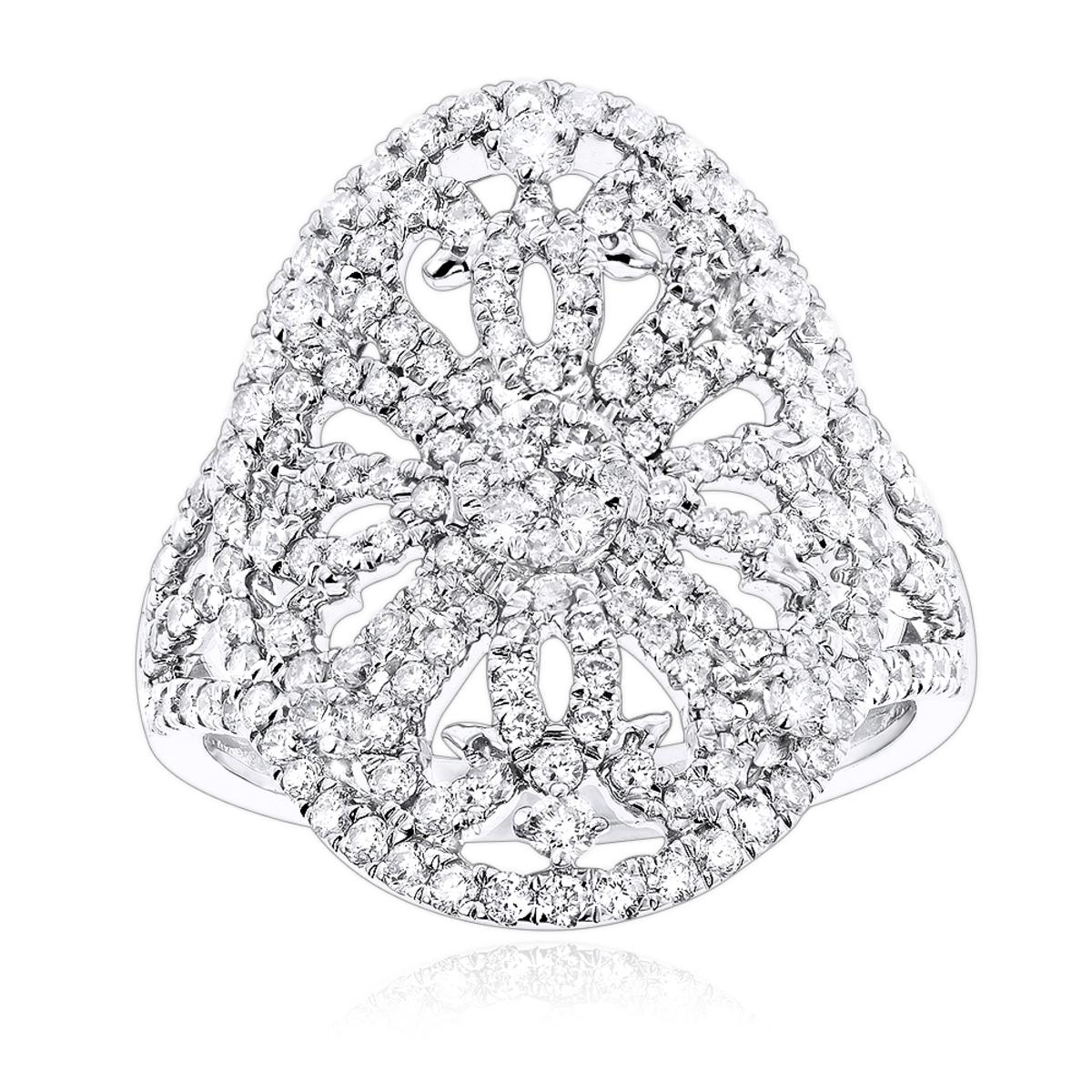 Luxurman 14K Gold Diamond Right Hand Fashion Ring for Women 1.25ct