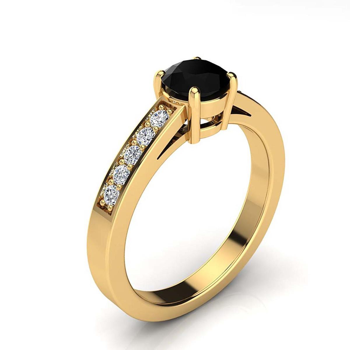 Luxurman 14K Gold White and Black Diamond Engagement Ring 0.65ct