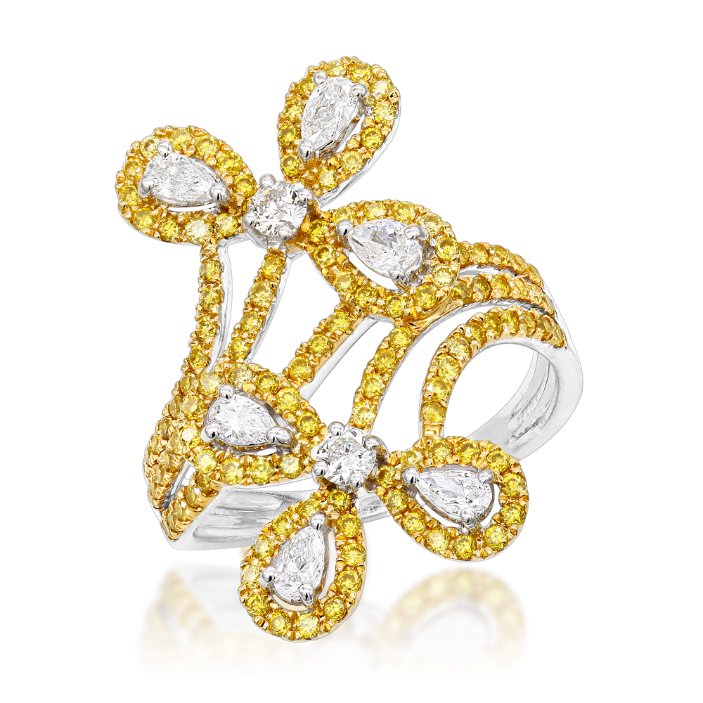 LUXURMAN 14K Gold White Yellow Diamond Flower Cocktail Ring for Women 1.5ct