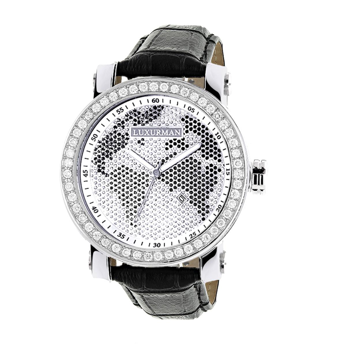 Luxurman Black & White Worldface VS Diamond Watch 4 ct