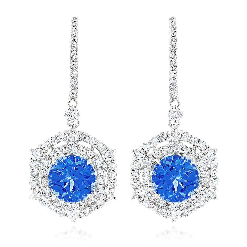 Luxurman Blue Sapphire Diamond Earrings for Women in 14k Gold 2ct + 5ct