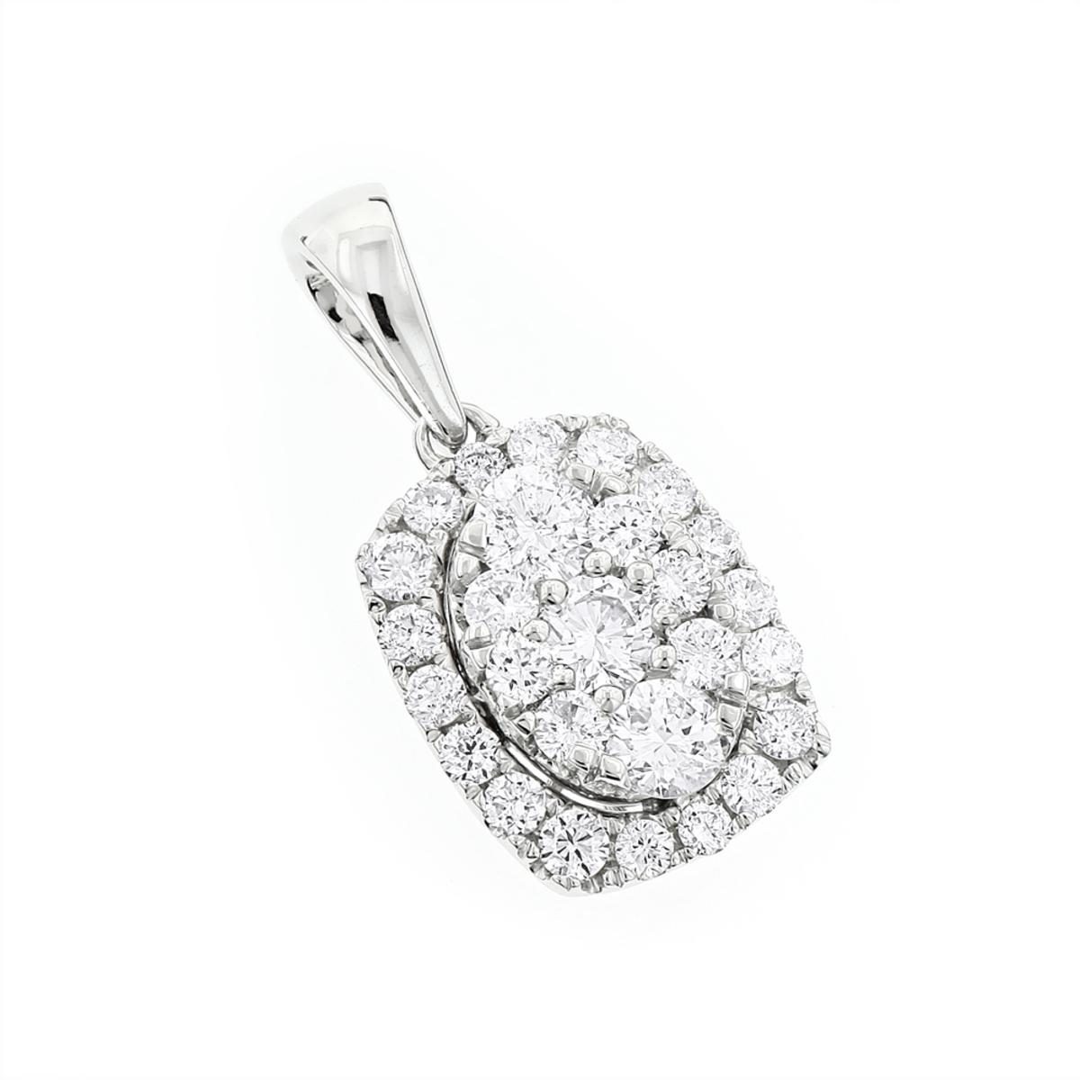 Luxurman Cluster Oval Diamond Pendant for Women 14K Gold 0.89ct G-H VS-SI