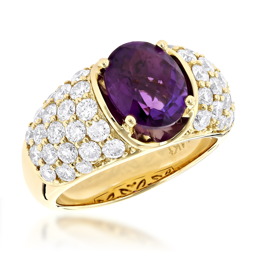 Luxurman Cocktail Diamond Ring for Women with Amethyst 2 ct 14K Gold