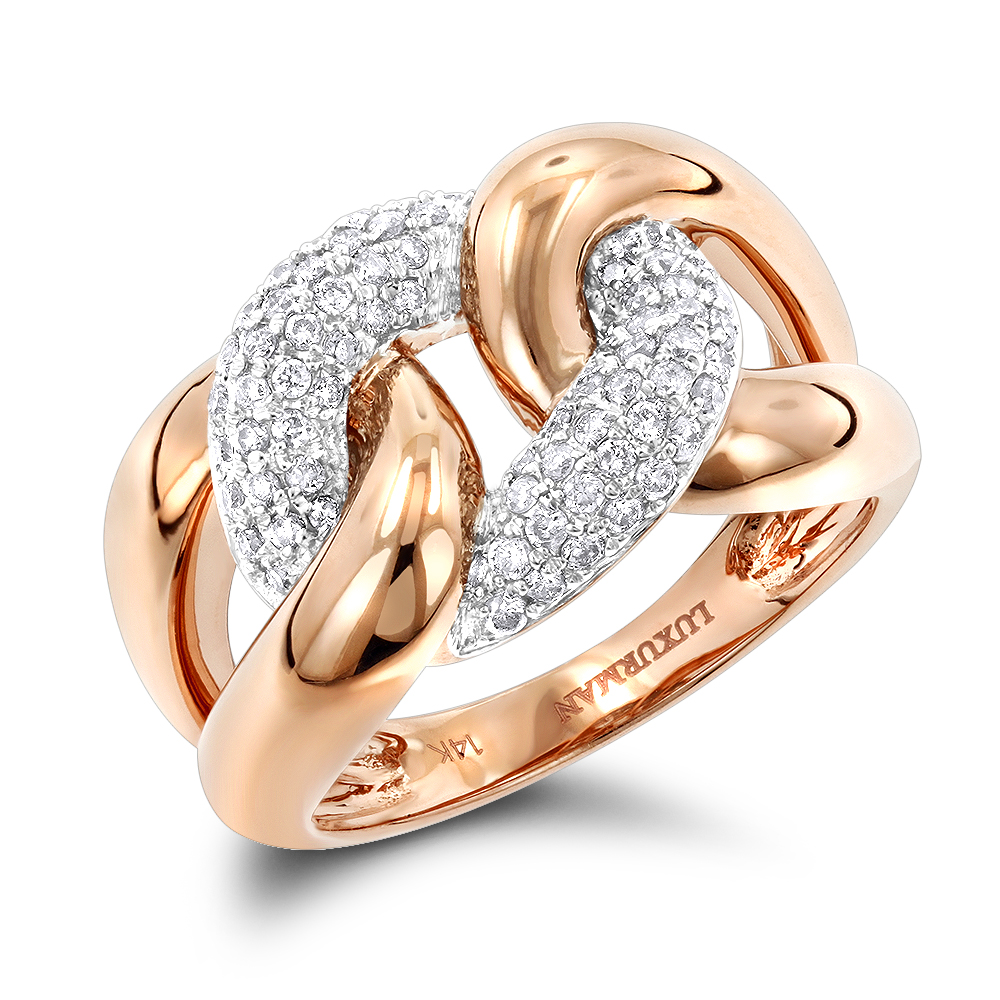 Luxurman Cocktail Rings Love Knot Cuban Link Diamond Ring for Women 1/2ct