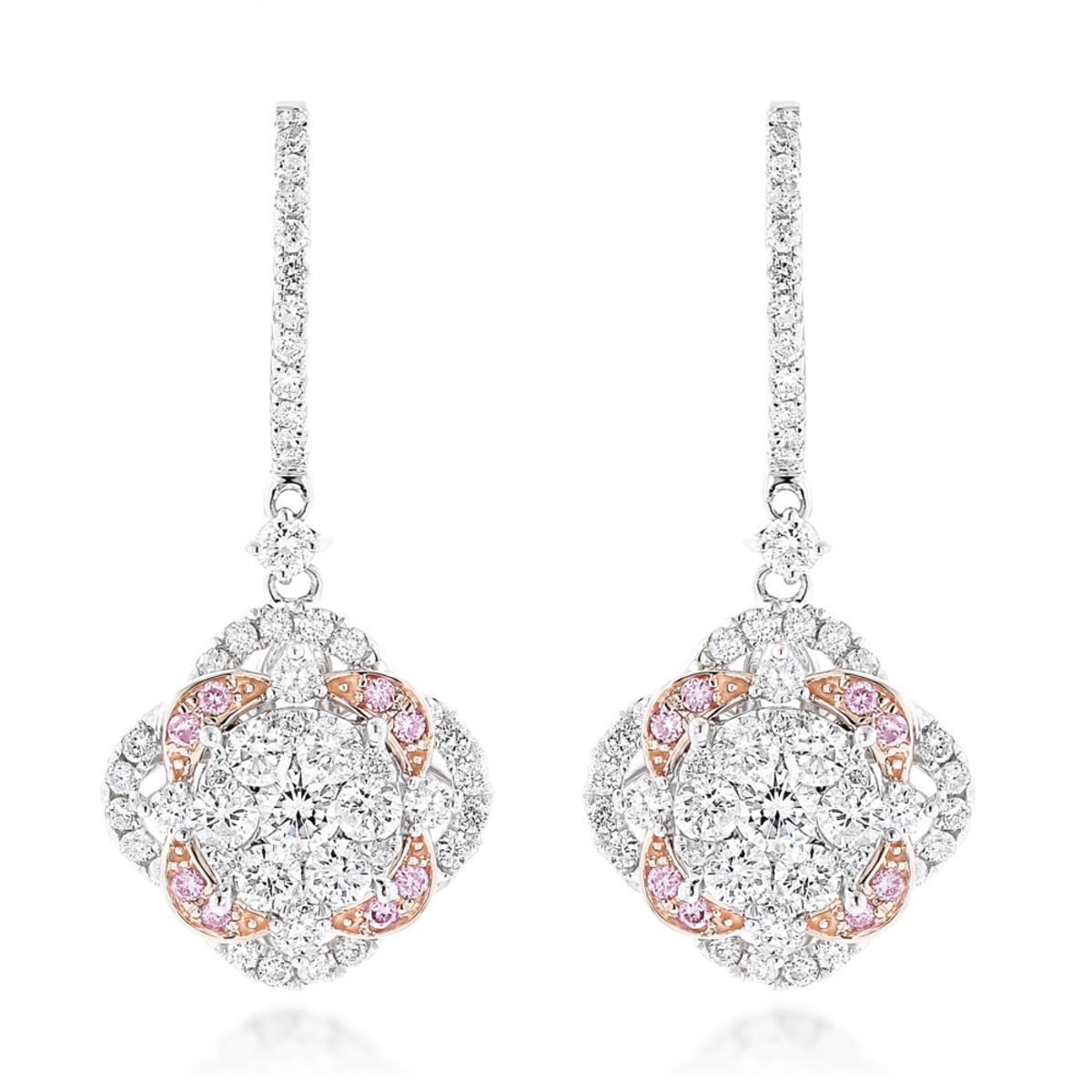 Luxurman Designer Flower Cluster Diamond Earrings for Women 2.4ct 14K Gold