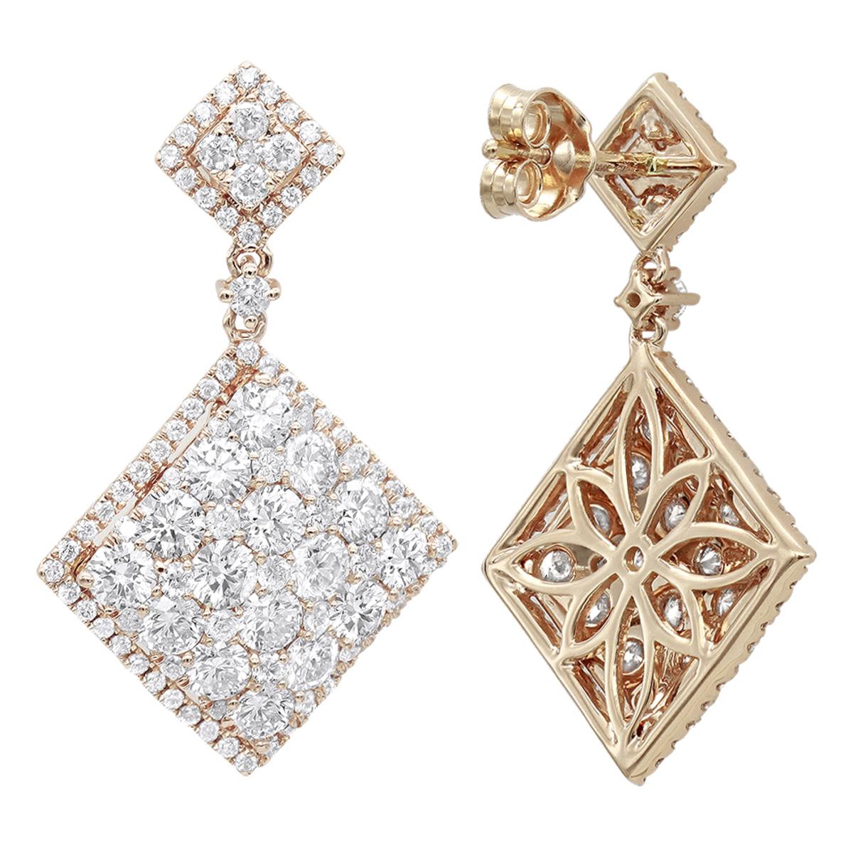 Luxurman Designer Square Diamond Drop Earrings for Women 4 Carat 14k Gold