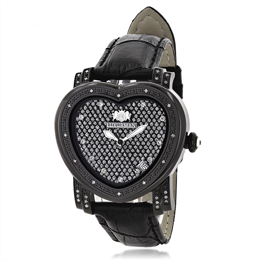 Luxurman Diamond Heart Watch 0.25ct Black
