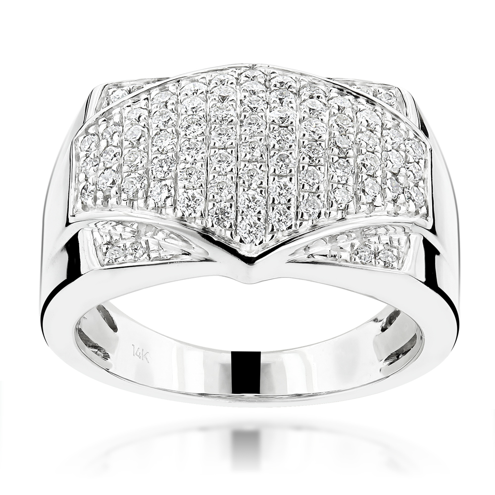 Luxurman Diamond Rings! Mens Pave Diamonds Band 14K Gold 1ct