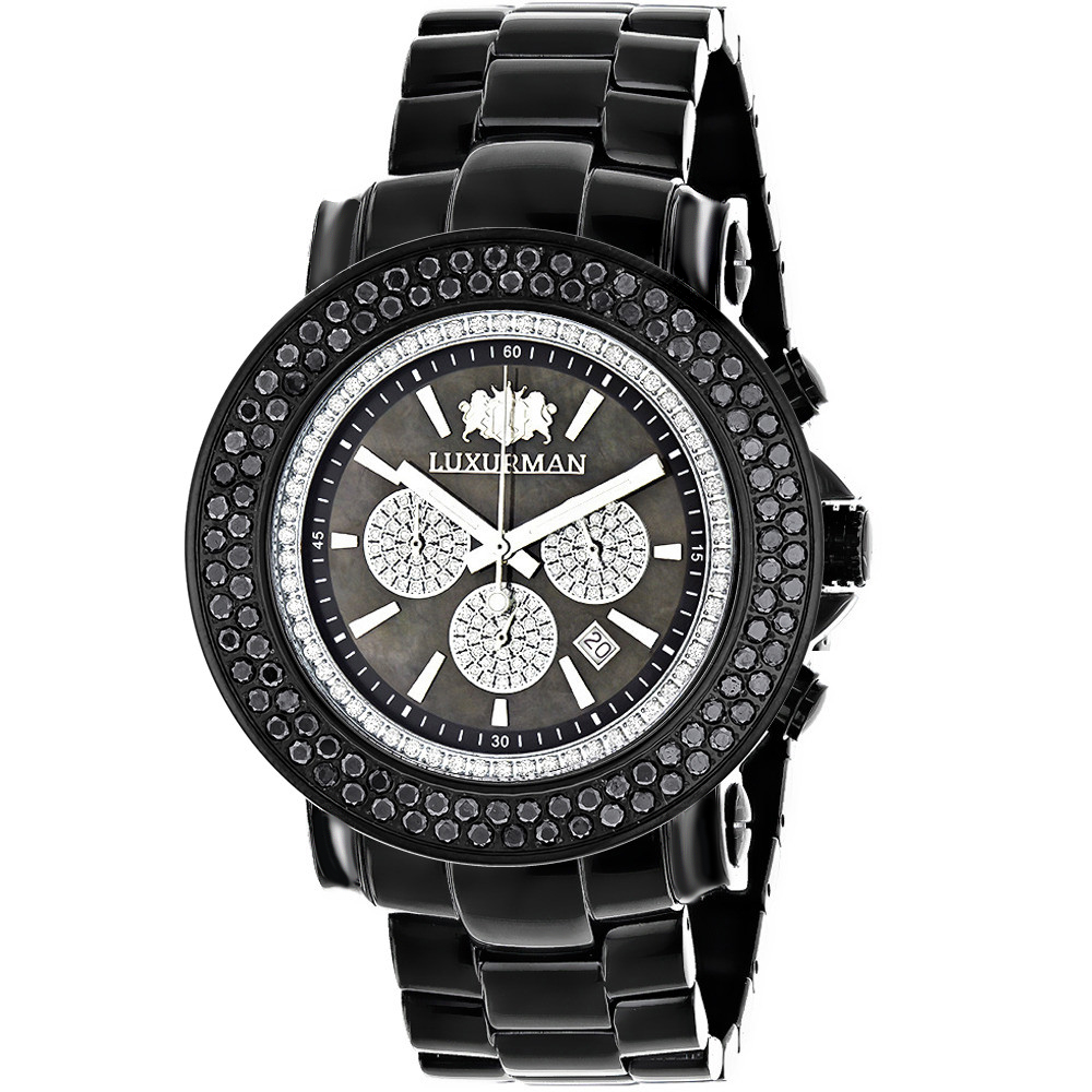 Luxurman Escalade Mens Black Diamond Watch Oversized Chronograph 4.75ct