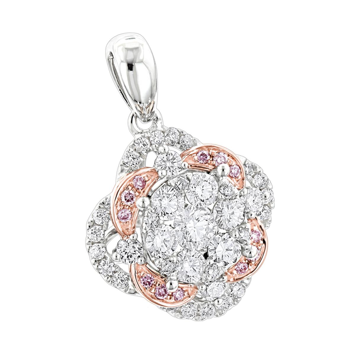 Luxurman Flower Cluster White & Pink Diamond Pendant for Women in 14K Gold