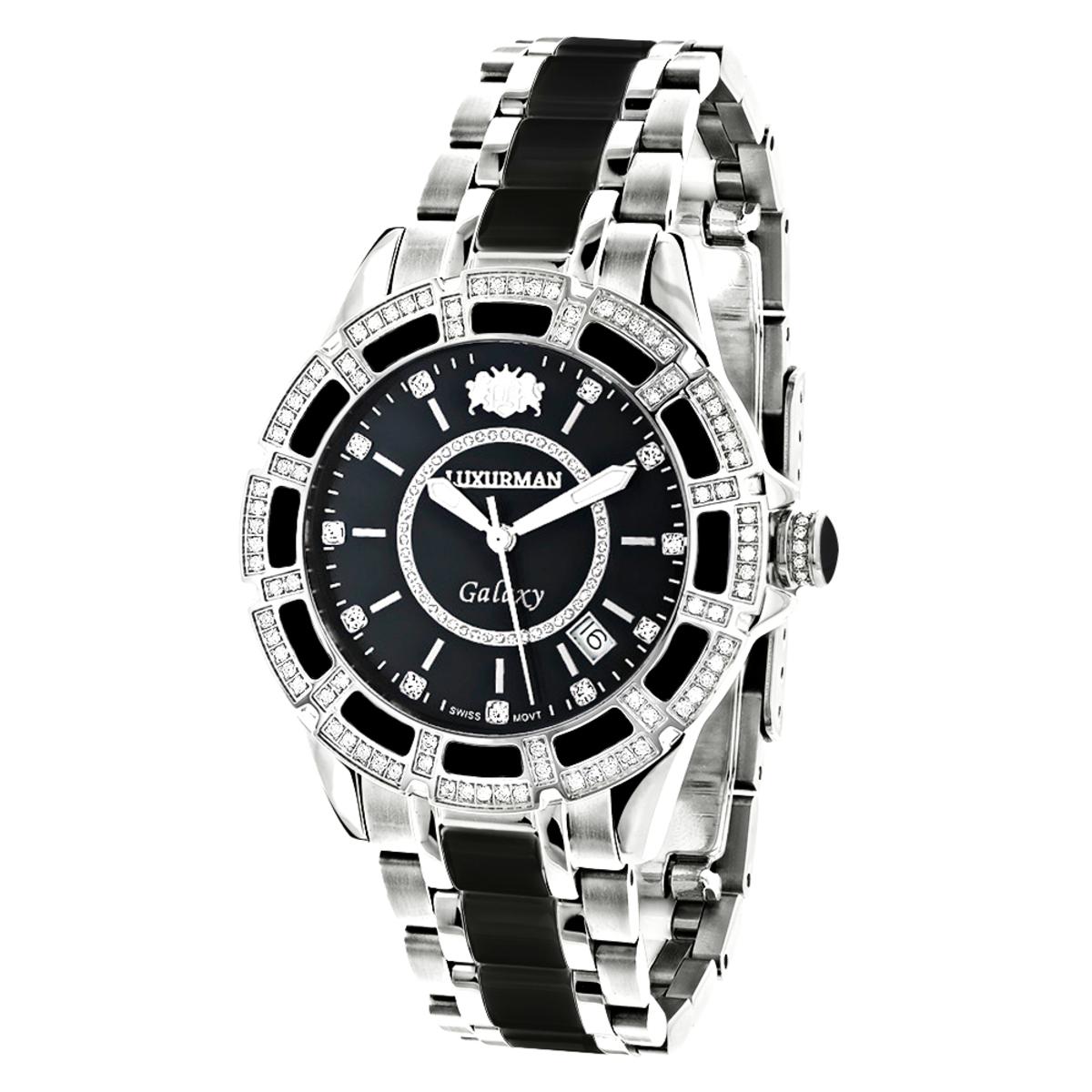 Luxurman Galaxy Midsize Diamond Watch Black Ceramic 1.25ct