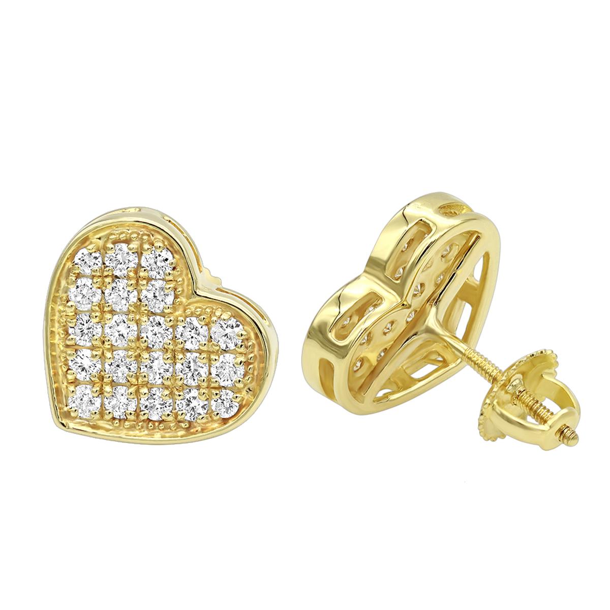 Luxurman Heart Shaped Diamond Earrings for Women 14k Gold Studs 0.76ct