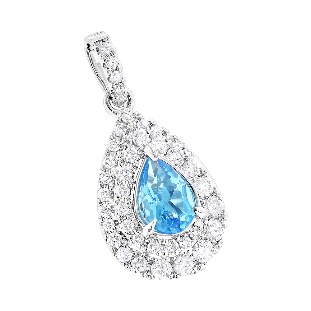 Luxurman Ladies Blue Topaz Diamond Drop Pendant 0.75ct in 14K Gold
