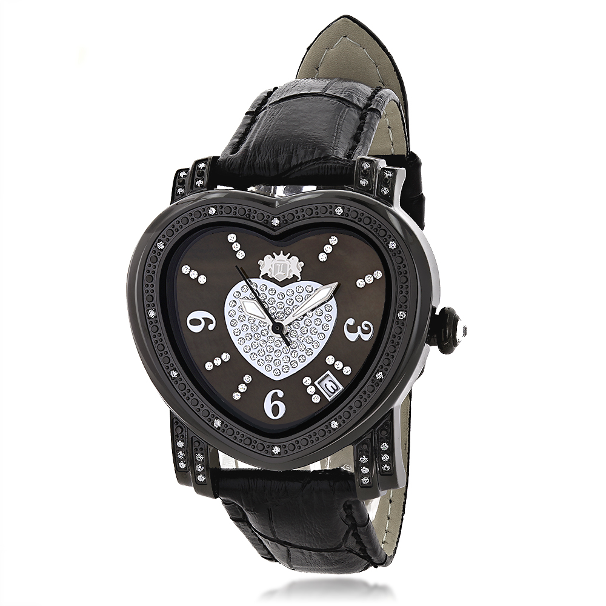 Luxurman Ladies Diamond Heart Watch 0.25ct Black MOP